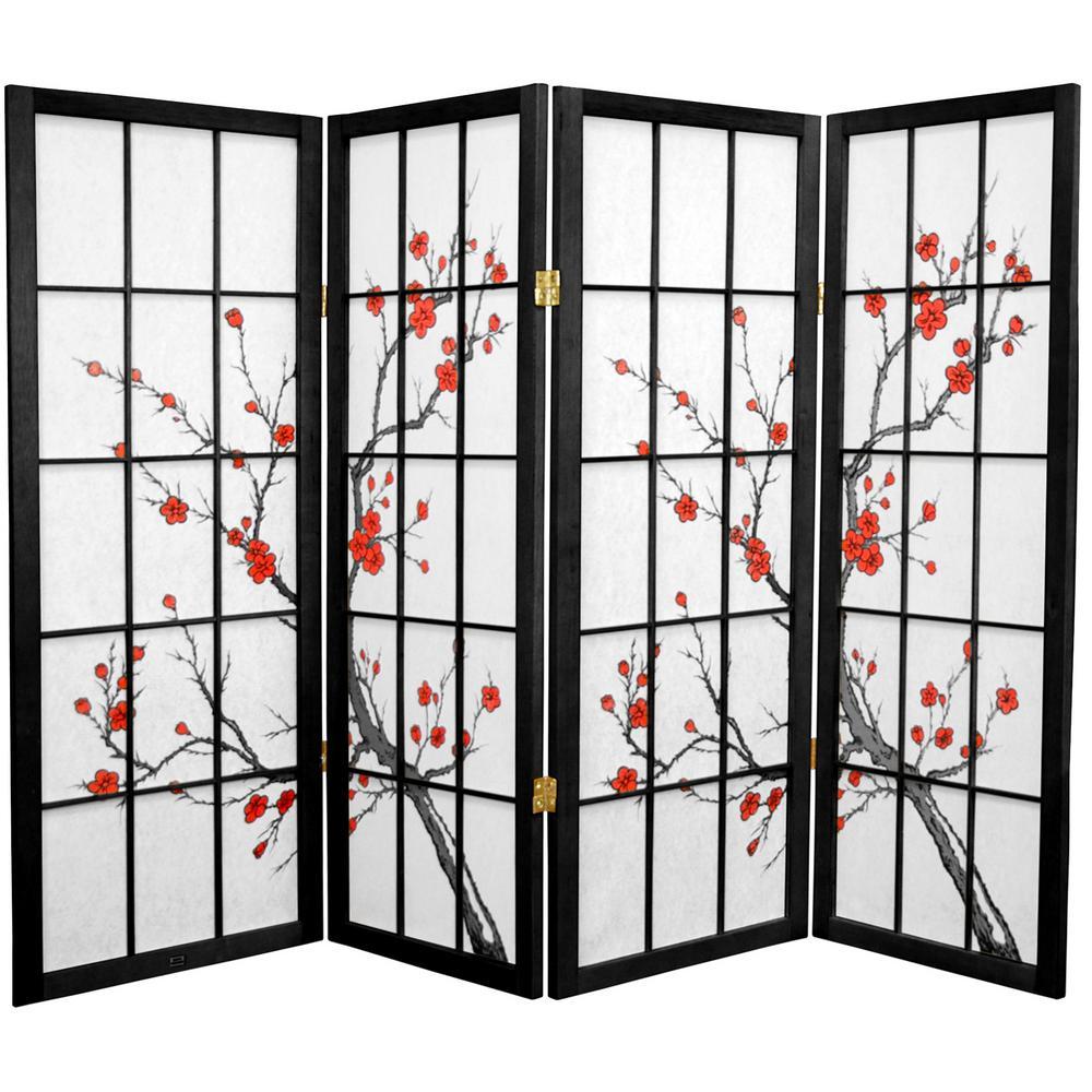 4 ft. Black 4-Panel Room Divider