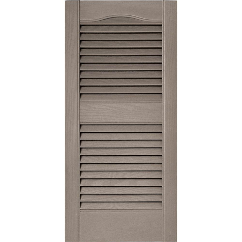 Builders Edge 15 in. x 31 in. Louvered Vinyl Exterior Shutters Pair in #008 Clay