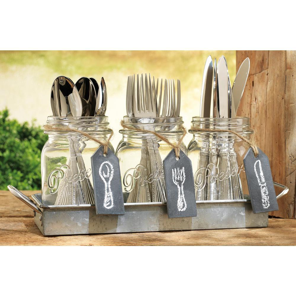 HOME ESSENTIALS & BEYOND Galvanized Finish Mason Jar Flatware Caddy by HOME ESSENTIALS & BEYOND