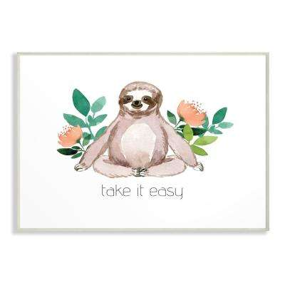 """13 in. x 19 in. """"Take It Easy Peach Floral Sloth Watercolor"""" by Elise Engh Wood Wall Art"""