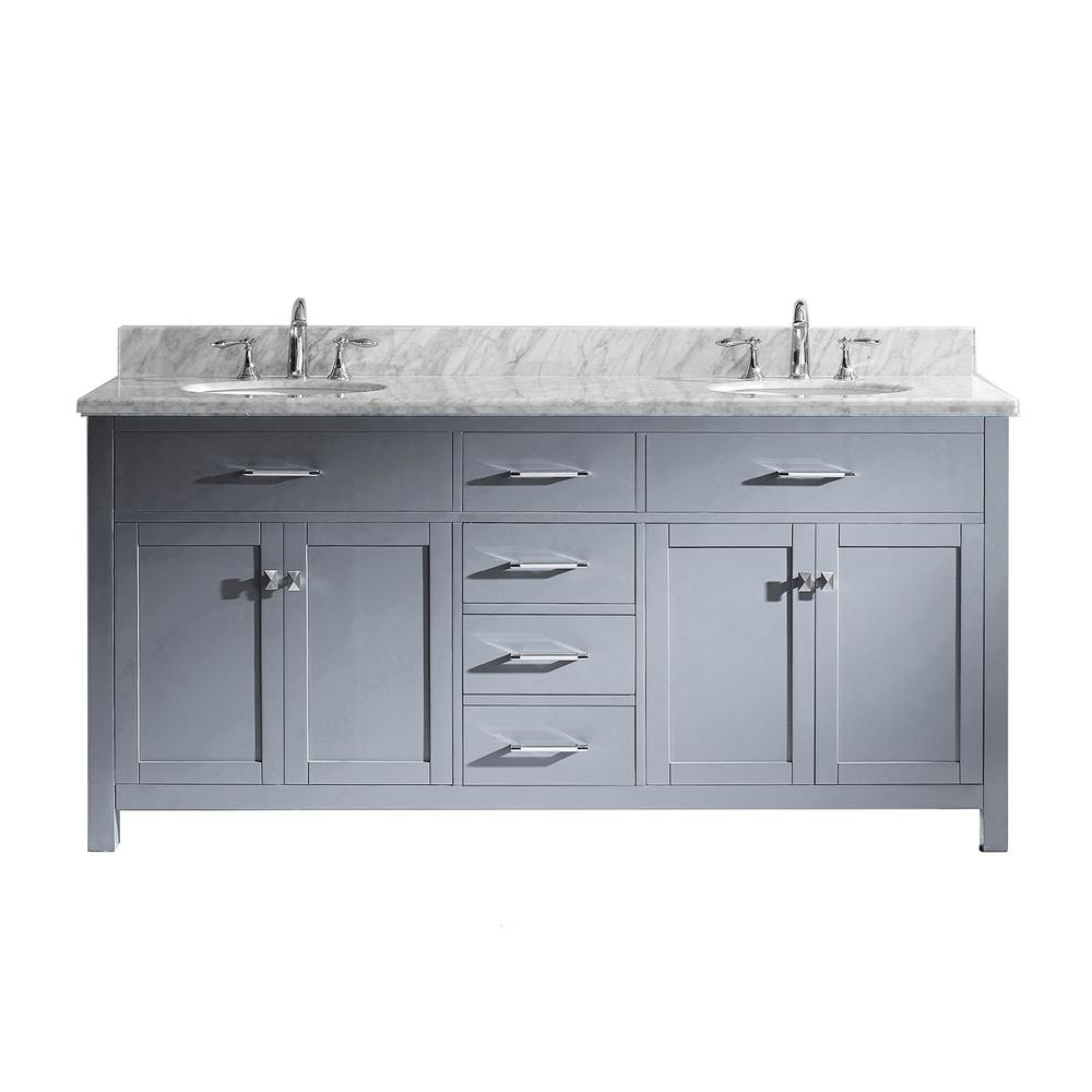 Superb Virtu Usa Caroline 72 In W Bath Vanity In Gray With Marble Vanity Top In White With Round Basin Home Interior And Landscaping Ponolsignezvosmurscom