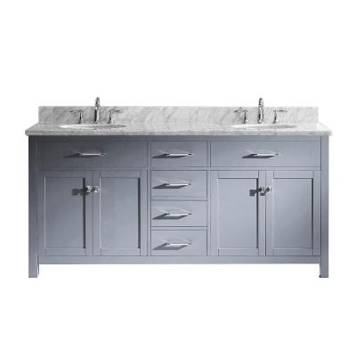 Caroline 72 in. W Bath Vanity in Gray with Marble Vanity Top in White with Round Basin