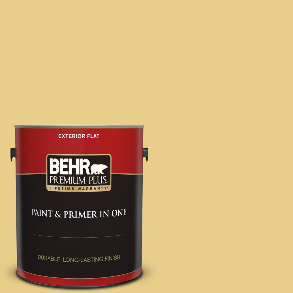 Behr Premium Plus 1 Gal T12 6 Lol Yellow Flat Exterior Paint And Primer In One 440001 The Home Depot