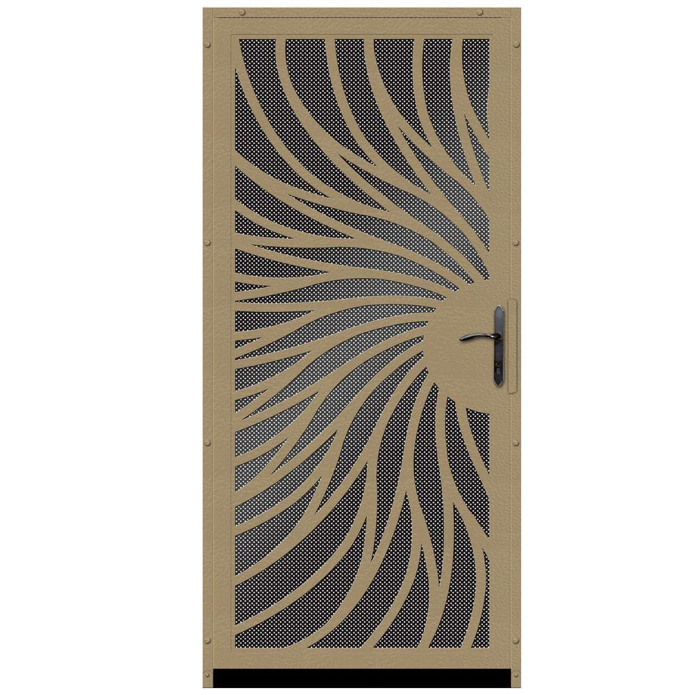 Unique Home Designs 36 in. x 80 in. Solstice Tan Surface Mount Steel Security Door with Black Perforated Screen and Bronze Hardware