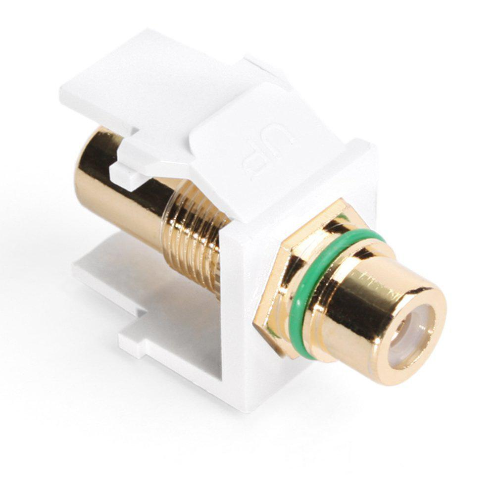Leviton QuickPort RCA Gold-Plated Connector Green Stripe, White