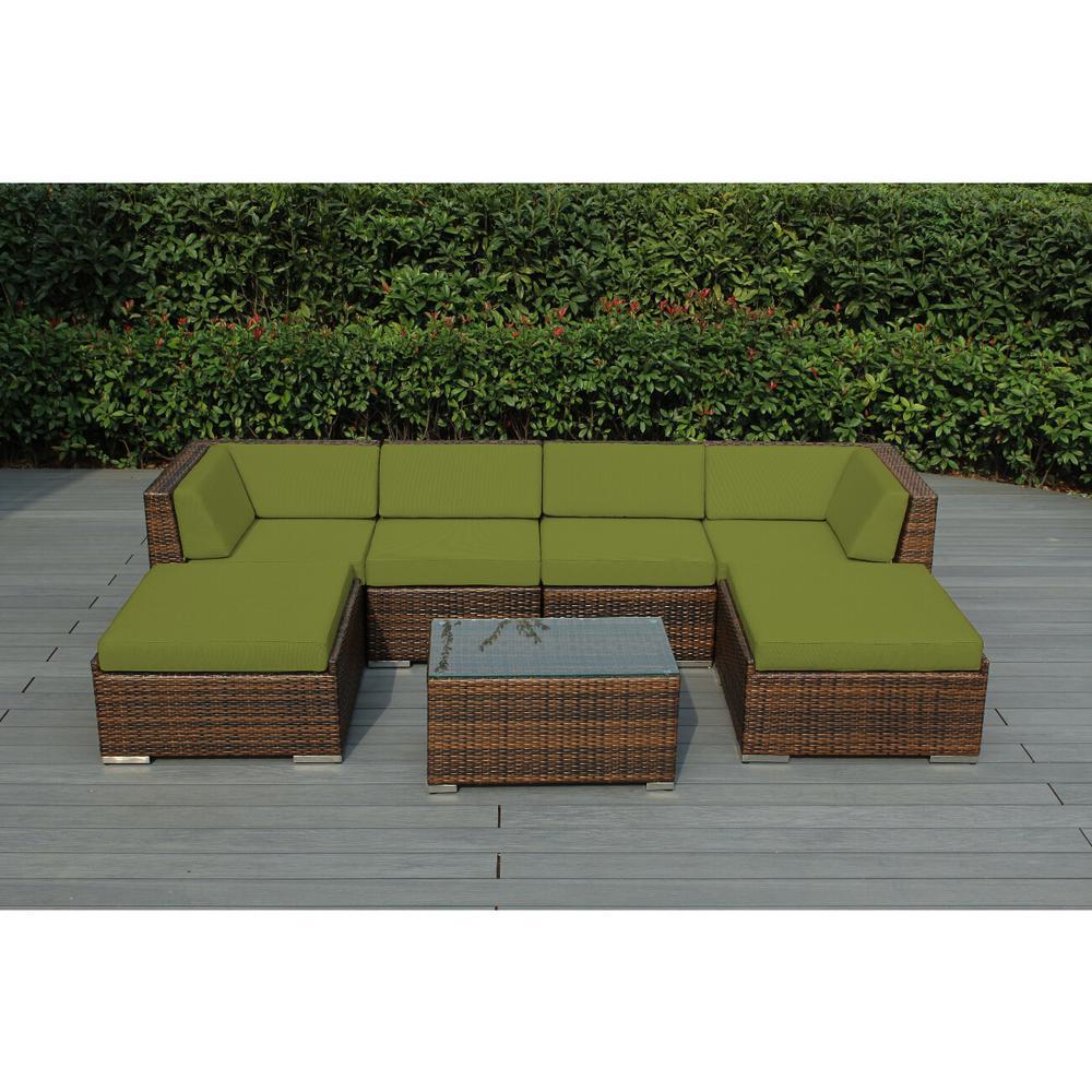 Ohana Mixed Brown 7-Piece Wicker Patio Seating Set with Supercrylic Peridot Cushions
