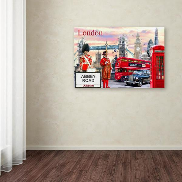 Trademark Fine Art 16 in. x 24 in. ''London Collage'' by