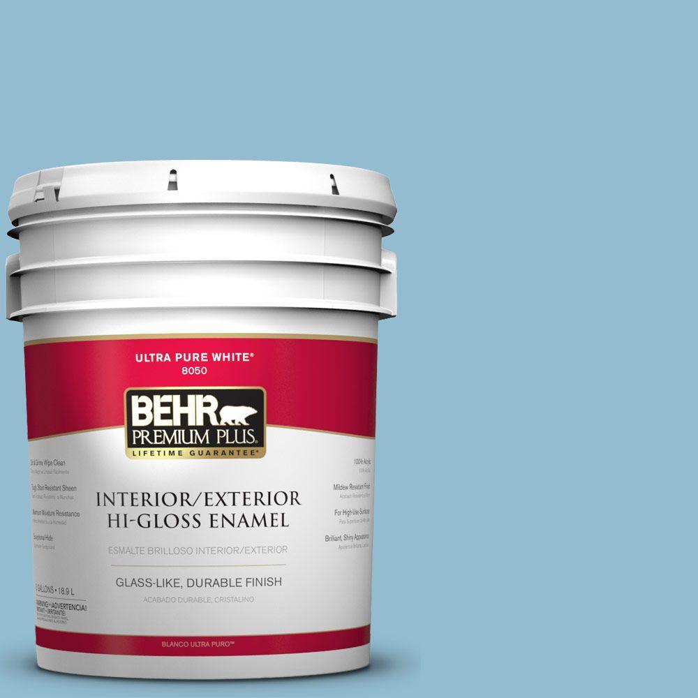 BEHR Premium Plus 5-gal. #S490-3 Reef Blue Hi-Gloss Enamel Interior/Exterior Paint