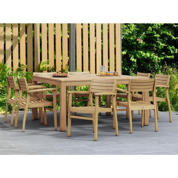 Amazonia Victoria Square 9 Piece Teak Patio Dining Set Sc Rinsq 8ninia The Home Depot