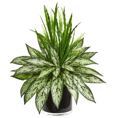 Indoor Silver Queen and Grass Artificial Plant in Black Vase