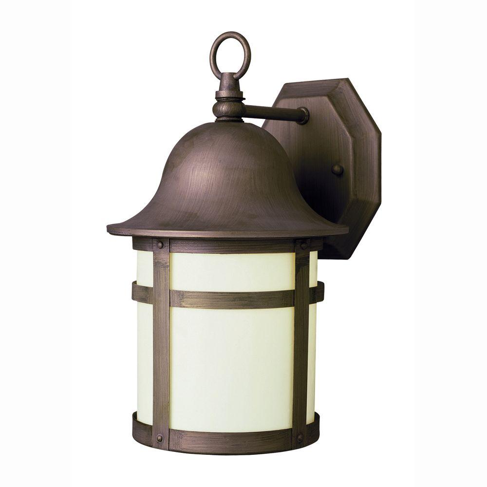 Bell Cap 1-Light Outdoor Weathered Bronze Coach Lantern with Frosted Glass