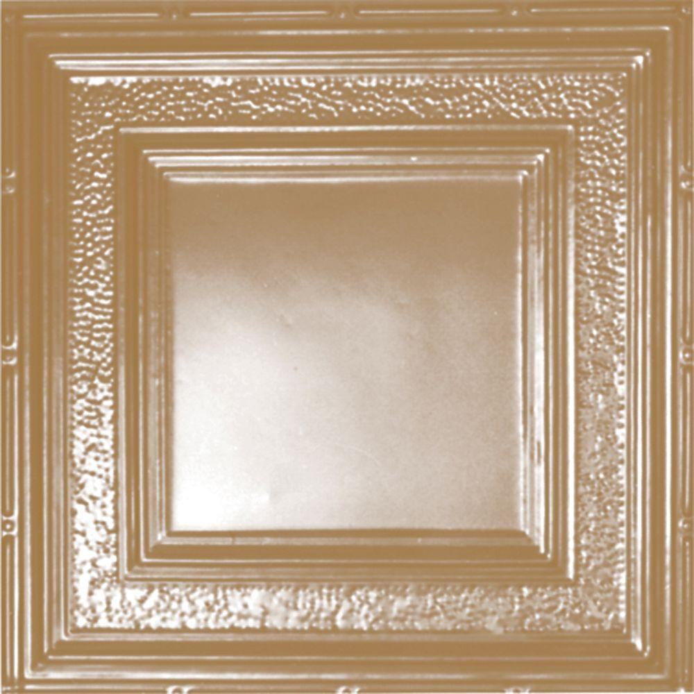 Shanko 2 ft. x 2 ft. Lay-in Suspended Grid Tin Ceiling Tile in Satin Brass (24 sq. ft. / case)