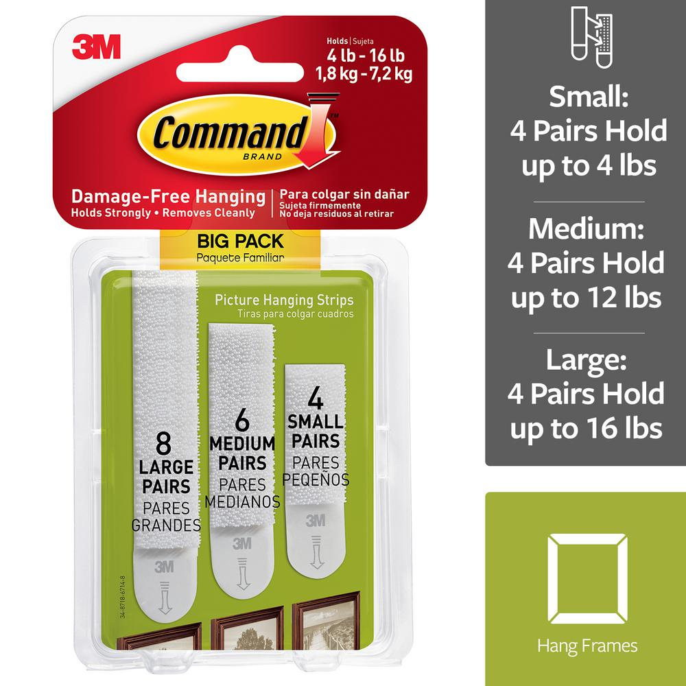 Command Assorted Sizes White Picture Hanging Strips Big Pack (8-Sets per Pack, 6-Sets per Pack, 4-Sets per Pack)