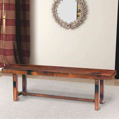 Transitional Style Dark Brown Mango Wood Bench with Block Leg Support