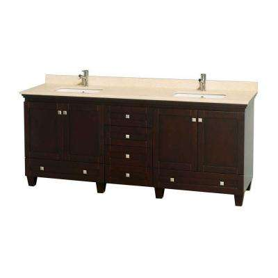 Acclaim 80 in. Double Vanity in Espresso with Marble Vanity Top in Ivory and Square Sinks