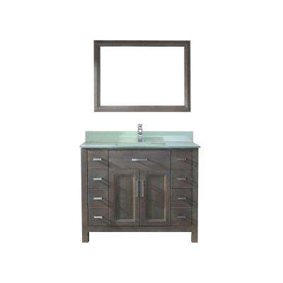 Kelly 42 in. Vanity in French Gray with Glass Vanity Top in Mint and Mirror
