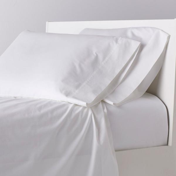 Garment-Washed 4-Piece White Solid 200 Thread Count Organic Cotton Percale Full Sheet Set