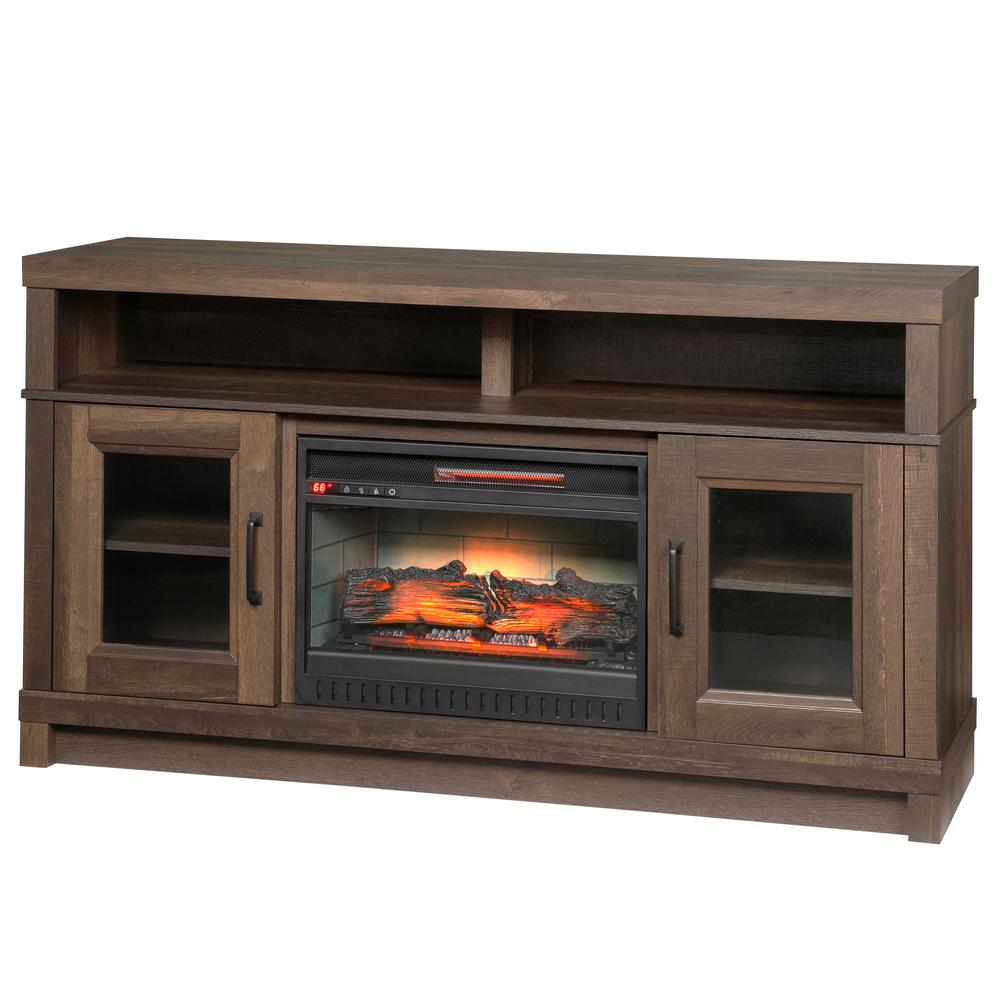 home decorators collection ashmont 60 in freestanding electric fireplace tv stand in aged oak. Black Bedroom Furniture Sets. Home Design Ideas