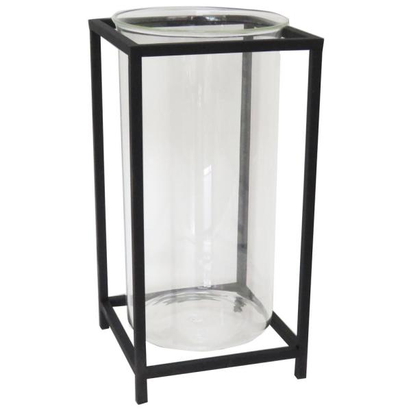 14 in. Black Metal and Glass Outdoor Patio Lantern
