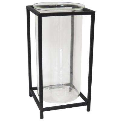 14 in. Black Metal and Glass Lantern