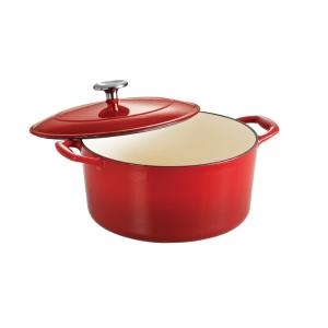 Gourmet 5.5 qt. Round Enameled Cast Iron Dutch Oven in Gradated Red with Lid