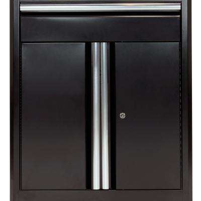 36 in. H x 30 in. W x 18 in. D Steel Base Cabinet with Drawer in Black