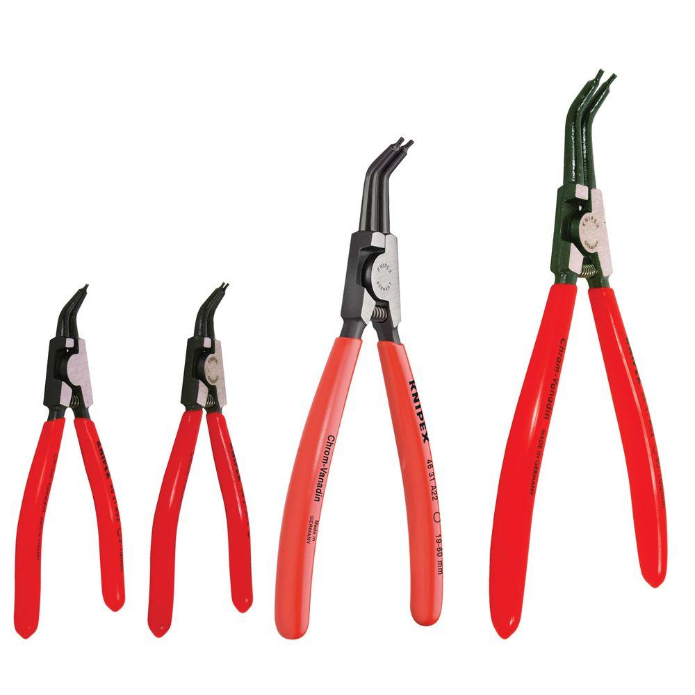 KNIPEX 4-Piece Forged Steel External Retaining Ring Pliers Set Knipex Tools is the worlds largest manufacturer of professional pliers since 1882. Knipex Pliers, Cutters, Insulated Tools and other products have been the tools of choice for Professional Tradesmen and end users who are serious about their hand tools and demand industrial quality. Knipex Tools are made from start to finish utilizing the highest quality materials. Based in Germany, KNIPEX Tools are German engineered to produce a tool unmatched in the industry in terms of features, comfort, design and performance. Fine tips close completely together. These ergonomically styled pliers are excellent for small retaining ring clips found in automotive applications as well as fax machines, typewriters, copiers & other electronic equipment. Includes Handy Storage Pouch.