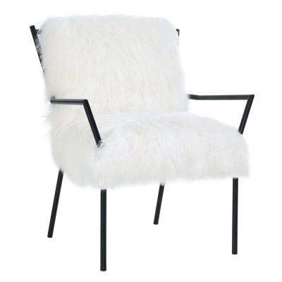 Lena White Sheepskin with Black Frame