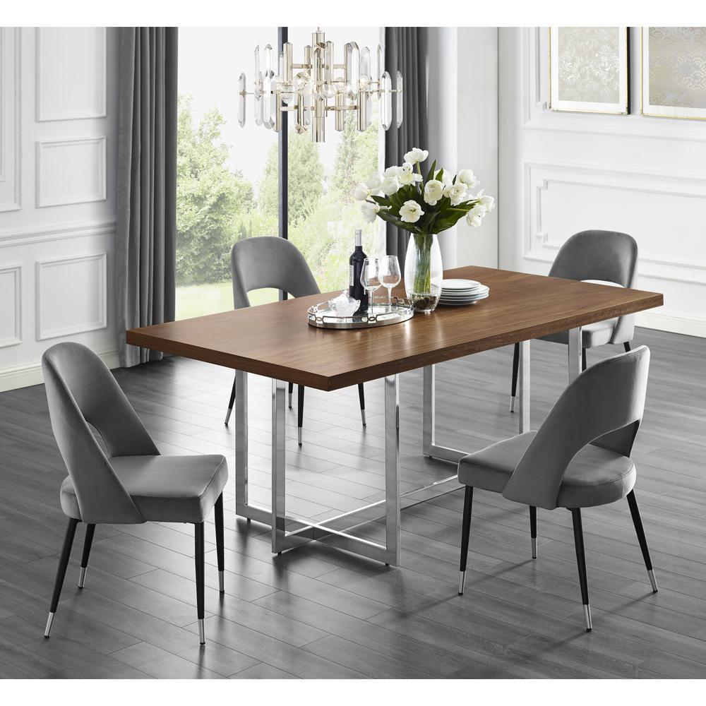 Davian 78.8 in. Walnut Wood Veneer Dining Table with Chrome Metal Legs