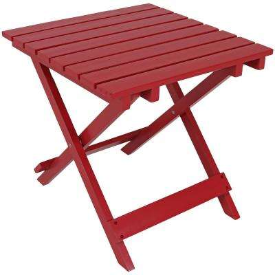 Red Square Wood Outdoor Side Table