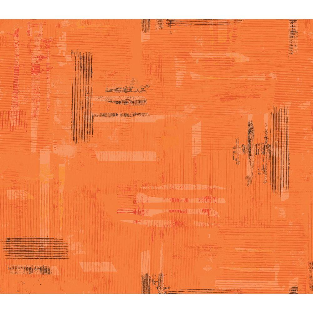 Disney 8 in. x 10 in. Bright Orange Funky Texture Wallpaper Sample-DISCONTINUED