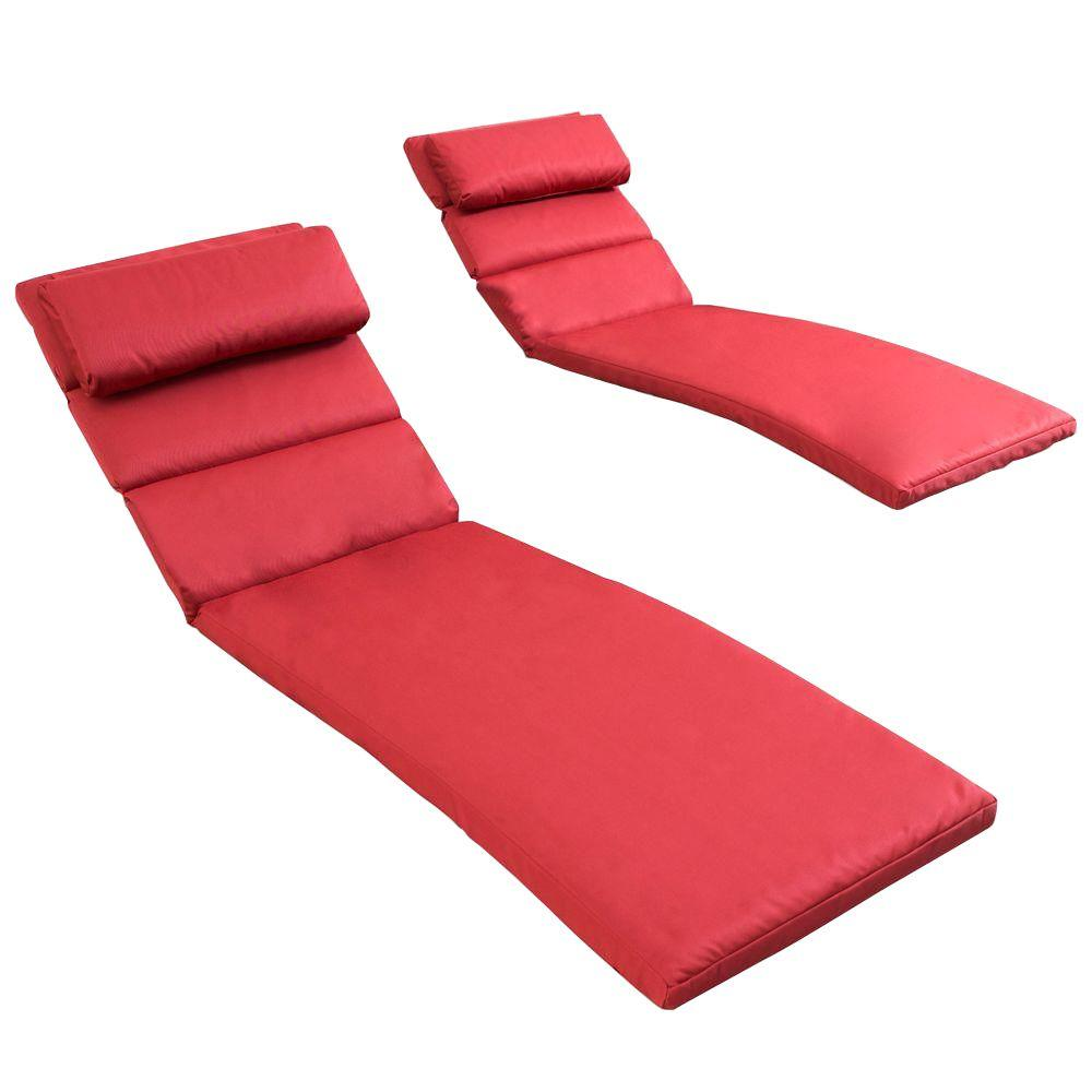 Rst Brands Cantina Red Outdoor Chaise Lounge Cushions Set Of 2