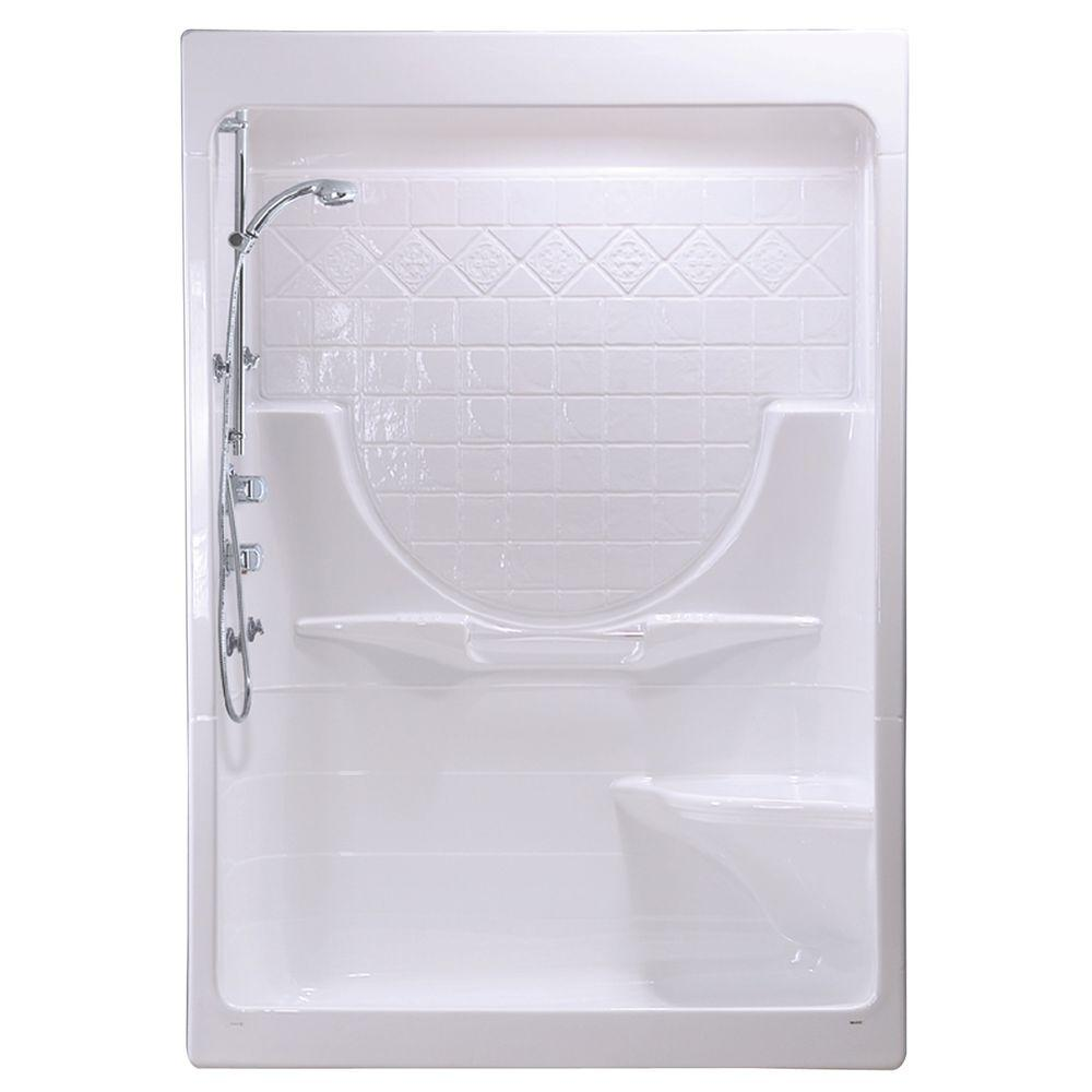 MAAX Montego I 33 in. x 59-1/4 in. x 85 in. Shower Stall with Right Seat in White