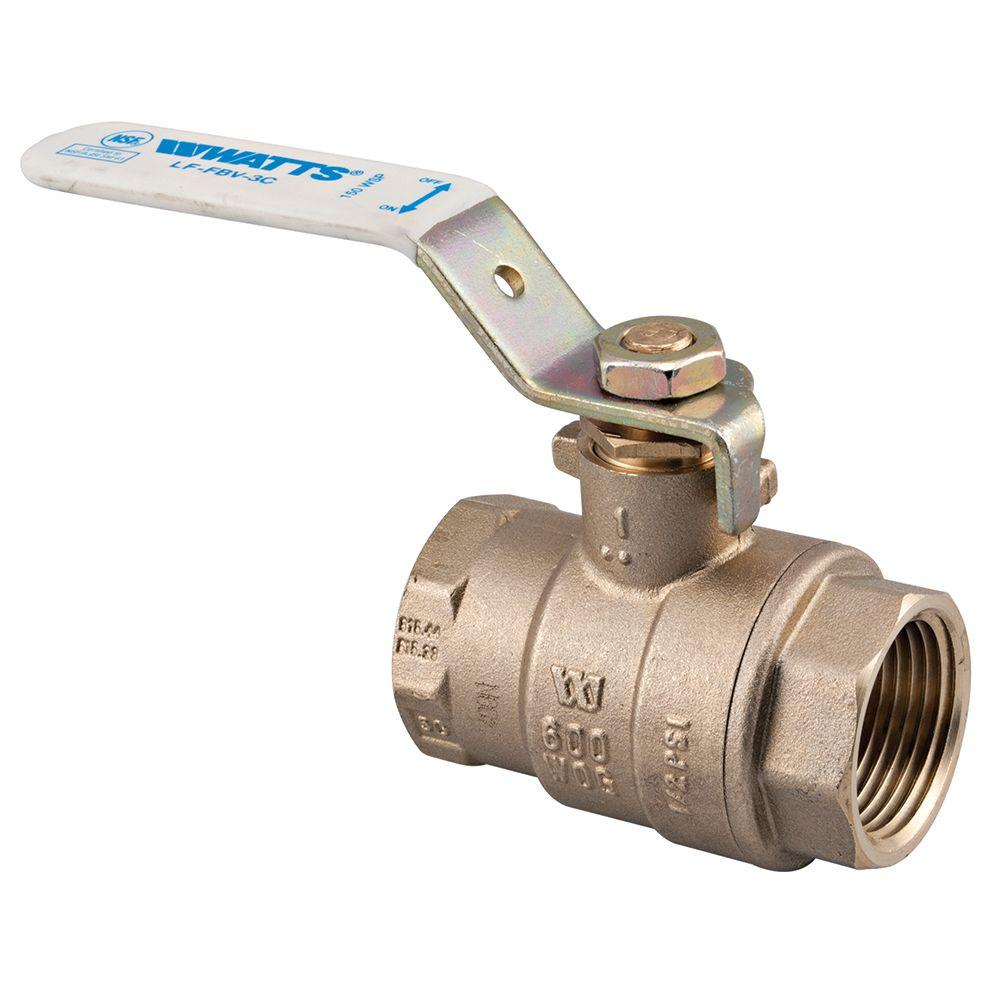Watts 1 in. Brass FIP x FIP Full Port Threaded Ball Valve