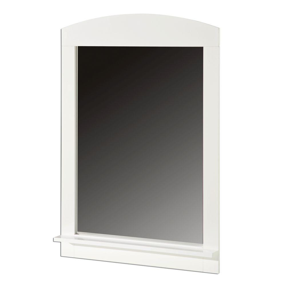South Shore 41 in. x 28 in. Clever Pure White Framed Mirror