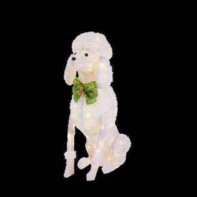 36 in. LED Lighted Sitting Poodle