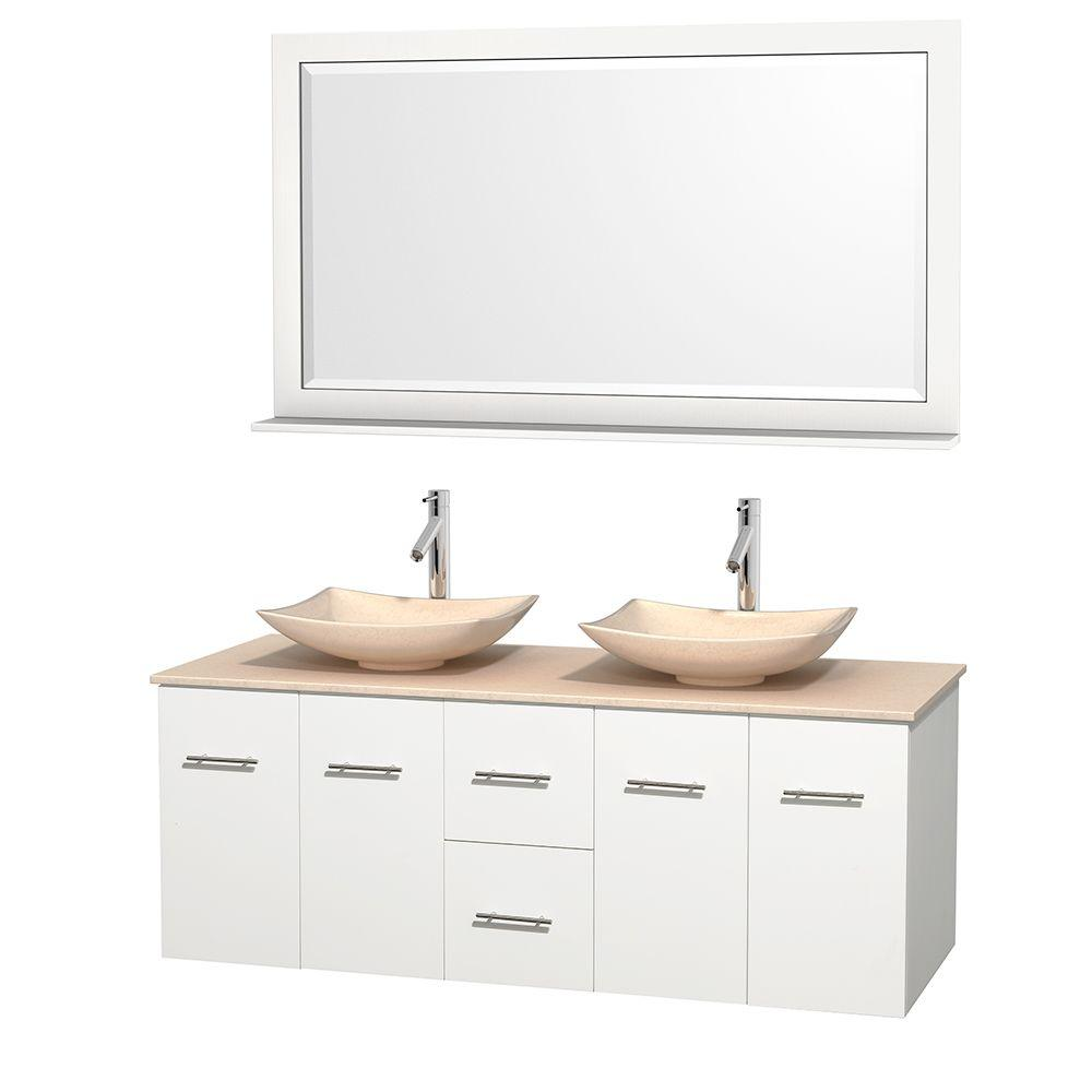 Wyndham Collection Centra 60 in. Double Vanity in White with Marble Vanity Top in Ivory, Marble Sinks and 58 in. Mirror