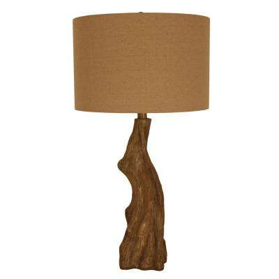 Delmare Driftwood 27 in. Brown Table Lamp with Linen Shade