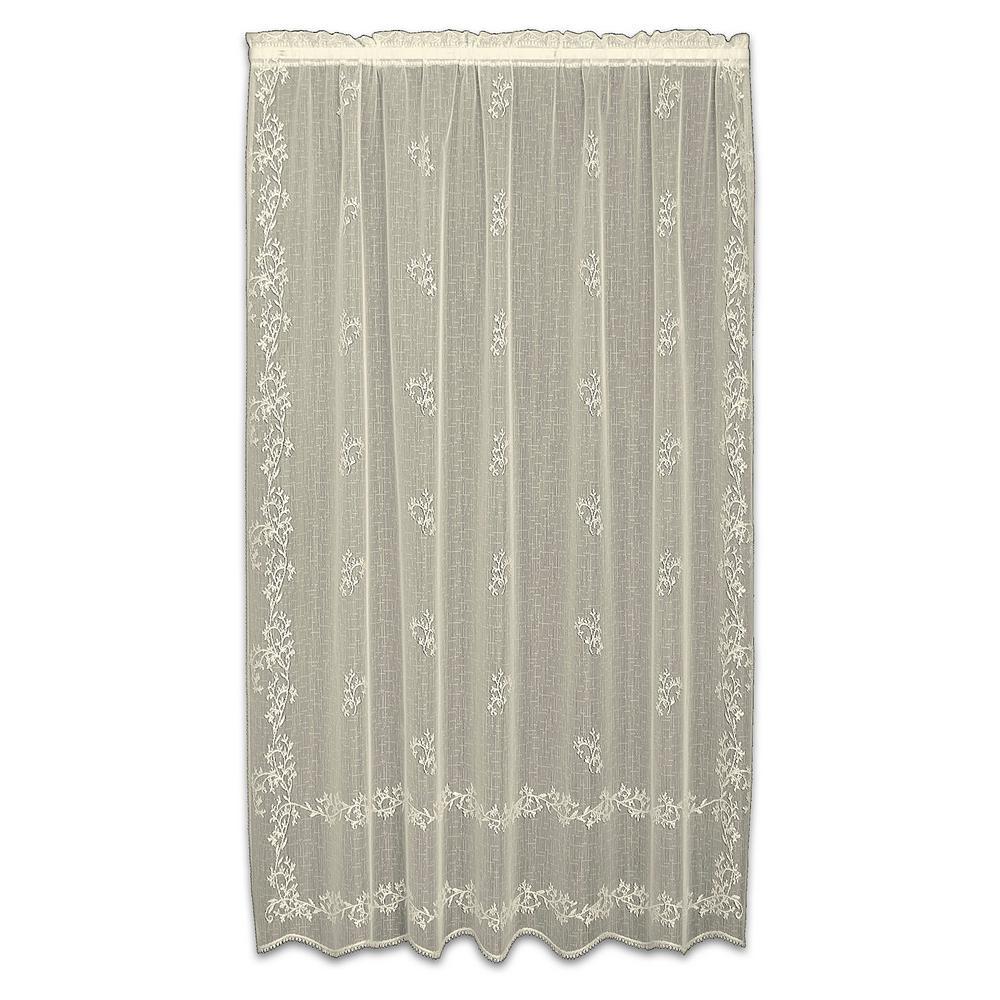 Sheer Divine Ecru Lace Curtain 60 in. W x 96 in. L