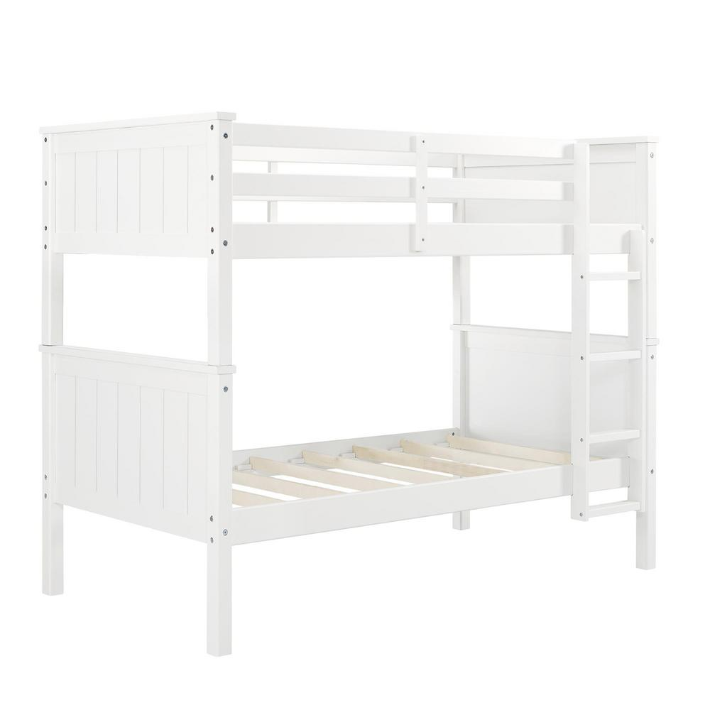 Dorel Living Elly White Twin Over Bunk Bed