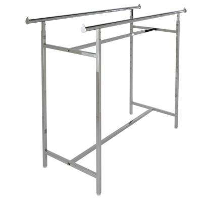 60 in. W x 83 in. H x 22 in. W Chrome Metal Adjustable Double Bar Garment Rack