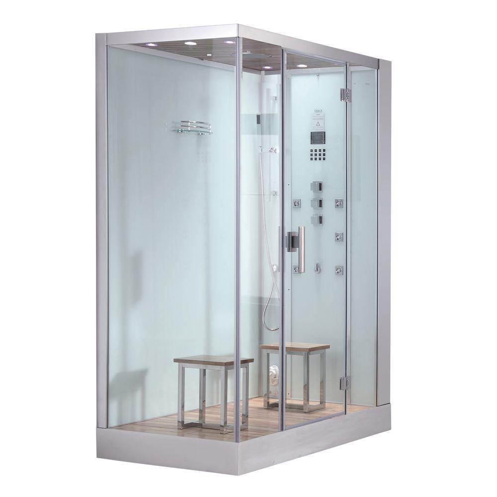 Ariel 59 inch x 35.4 inch x 89.2 inch Steam Shower Enclosure Kit in White by Ariel