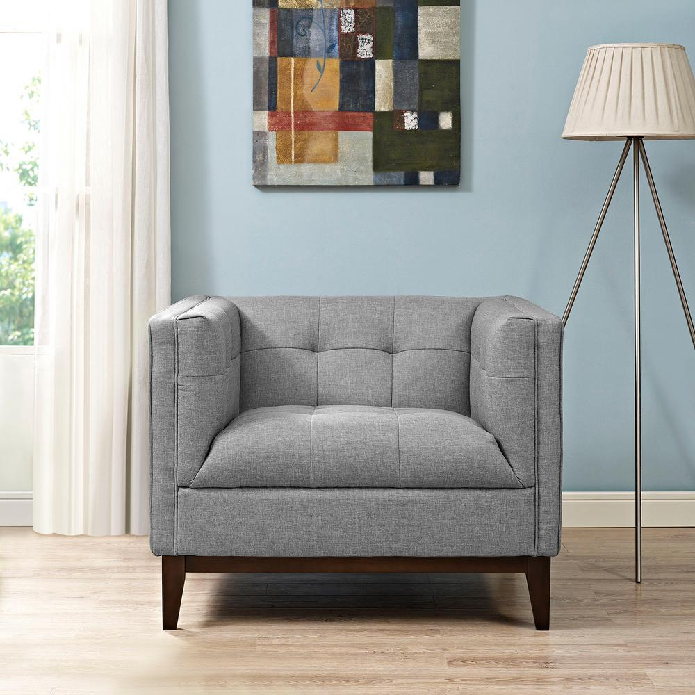 Serve Light Gray Upholstered Armchair