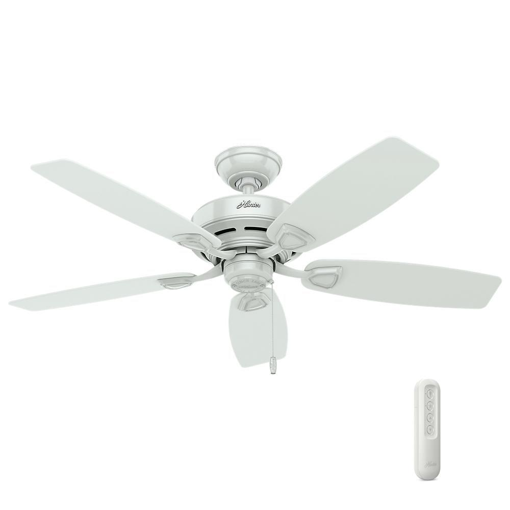 Hunter Sea Wind 48 in. Indoor/Outdoor White Ceiling Fan bundled with Handheld Remote Control