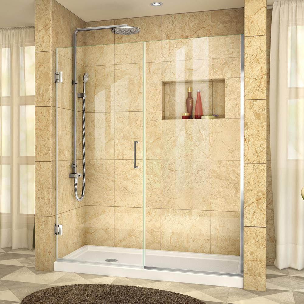 DreamLine Unidoor Plus 44-1/2 to 45 in. x 72 in. Semi-Frameless Pivot Shower Door with Hardware in Chrome with Handle