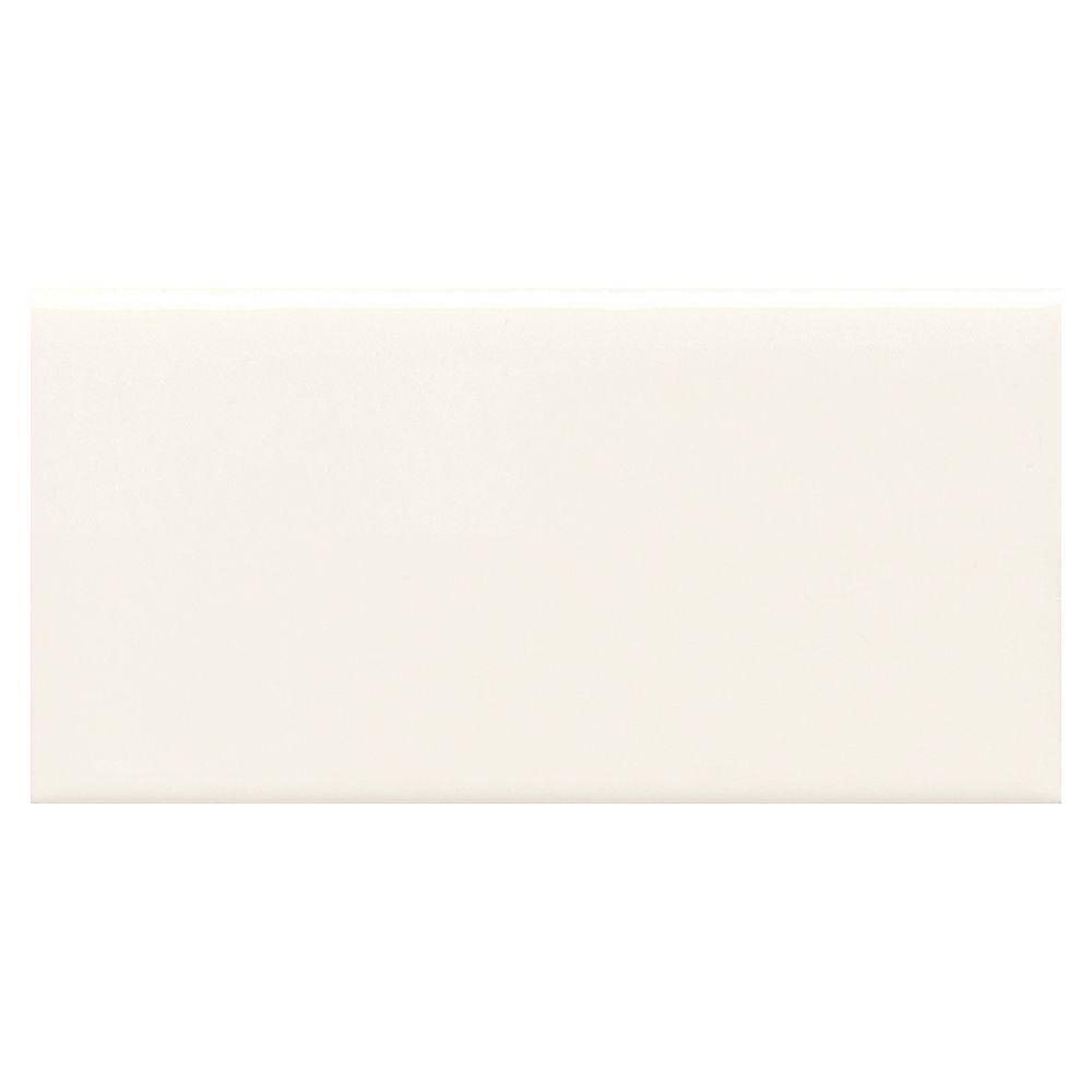 Semi Gloss White 2 In X 6 Glazed Ceramic Bullnose Cap Wall Tile