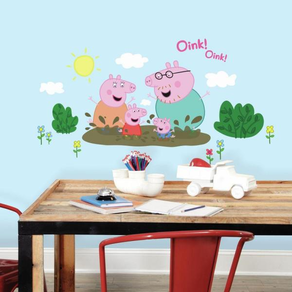 5 In W X 19 In H Peppa The Pig Family Muddy Puddles 14 Piece Peel And Stick Giant Wall Decal
