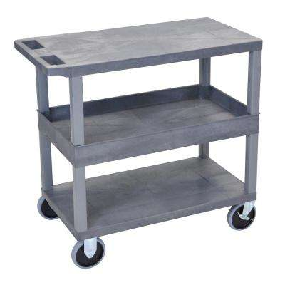 EC 35.25 in. W x 18 in. D x 37.25 in. H Utility Cart with 1-Flat and 2-Tub Shelves with 5 in. Casters in Gray
