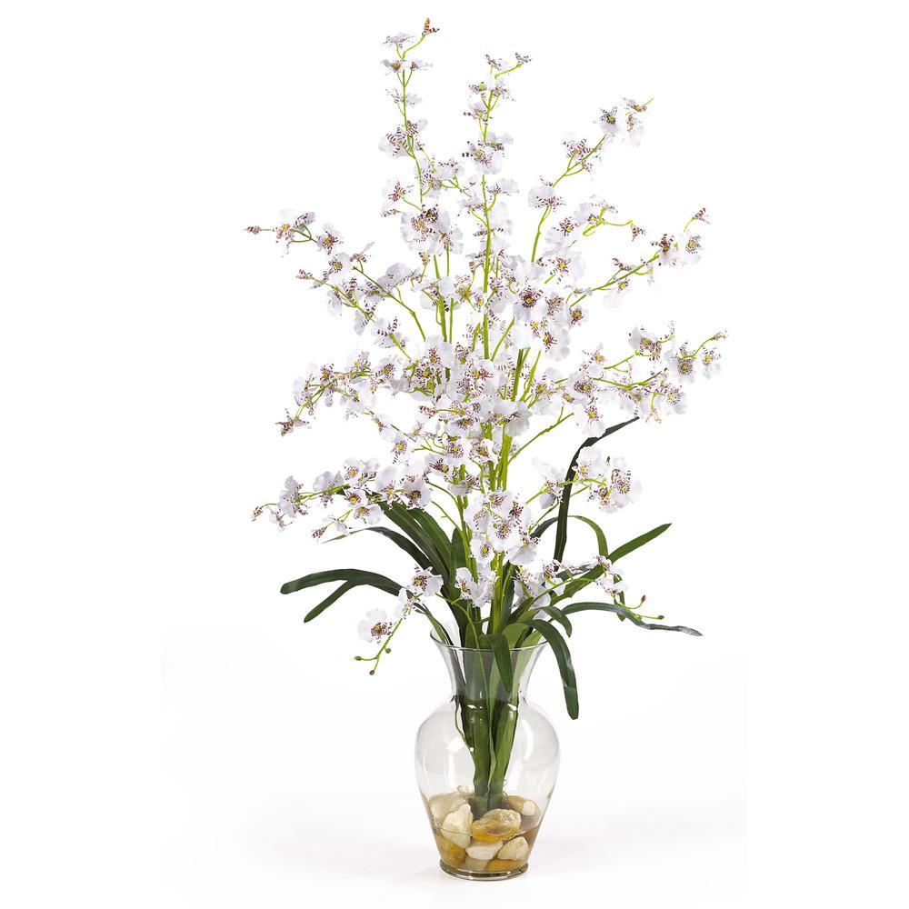 31 in. Dancing Lady Liquid Illusion Silk Flower Arrangement in White