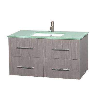 Centra 42 in. Vanity in Gray Oak with Glass Vanity Top in Green and Undermount Sink